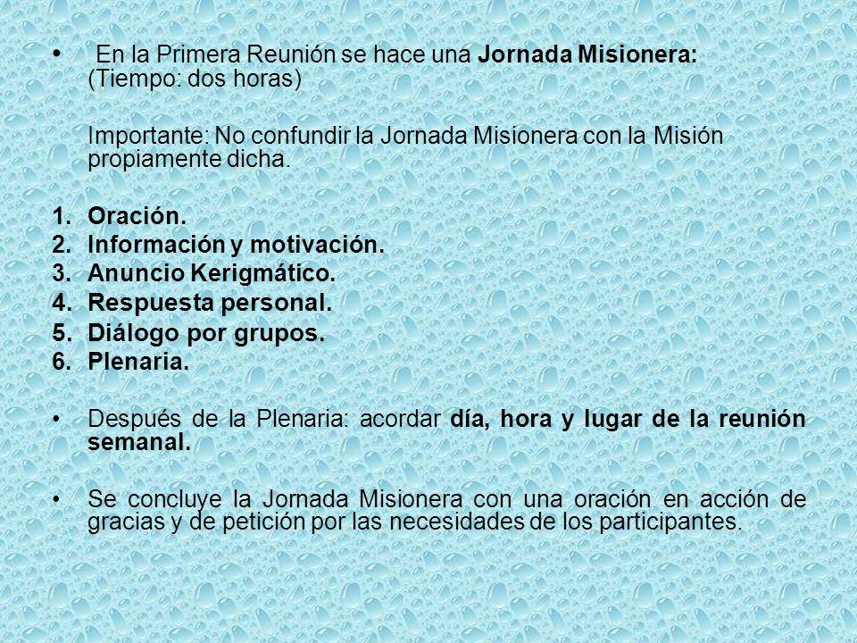 En la Primera Reunión se hace una Jornada Misionera: (Tiempo: dos horas)