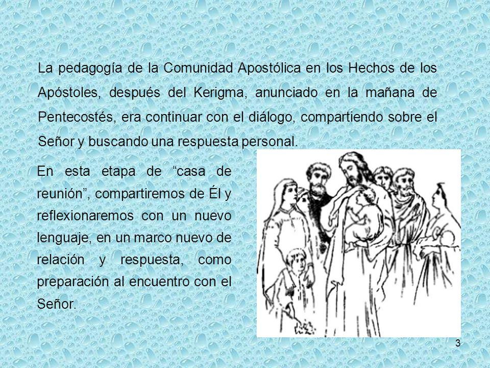 La pedagogía de la Comunidad Apostólica en los Hechos de los Apóstoles, después del Kerigma, anunciado en la mañana de Pentecostés, era continuar con el diálogo, compartiendo sobre el Señor y buscando una respuesta personal.