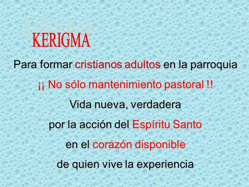 KERIGMA Para formar cristianos adultos en la parroquia