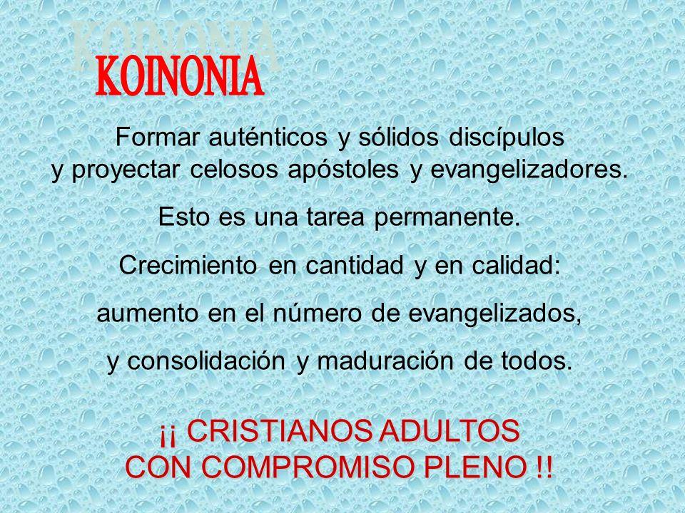 KOINONIA ¡¡ CRISTIANOS ADULTOS CON COMPROMISO PLENO !!
