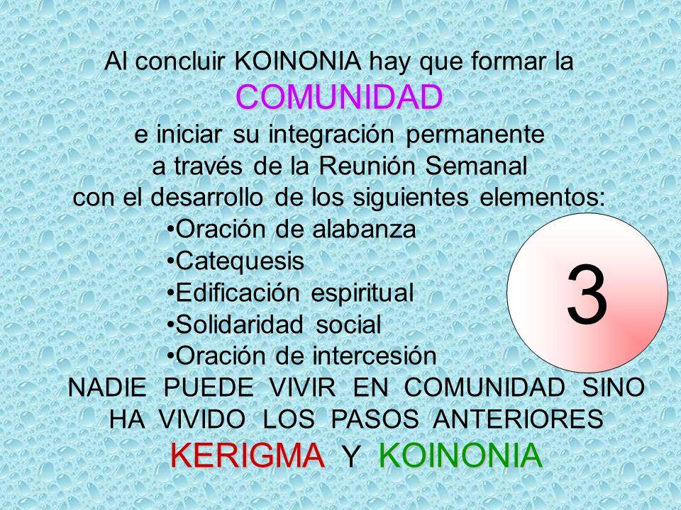 3 COMUNIDAD KERIGMA Y KOINONIA Al concluir KOINONIA hay que formar la