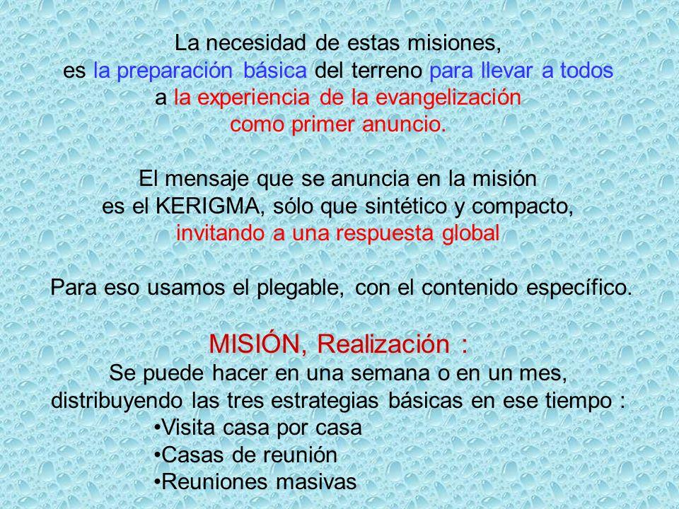 MISIÓN, Realización : La necesidad de estas misiones,