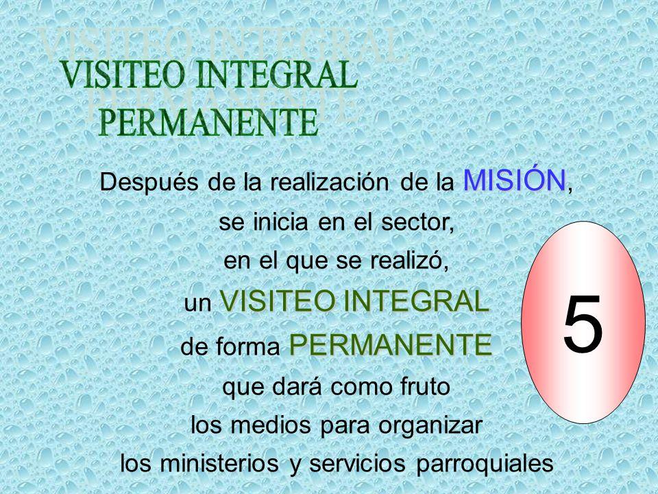 5 VISITEO INTEGRAL PERMANENTE Después de la realización de la MISIÓN,