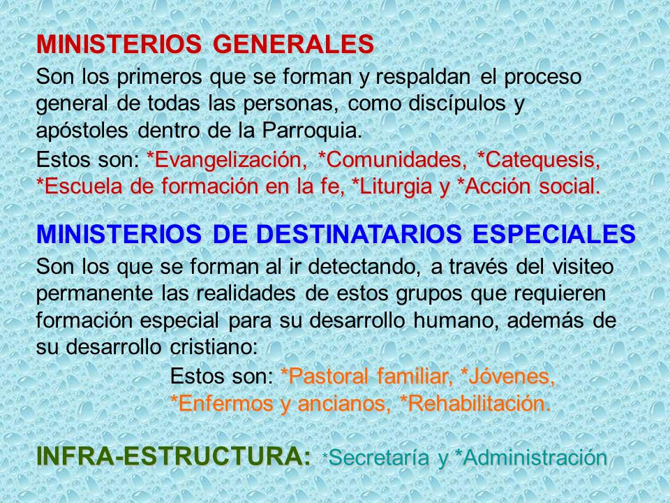 MINISTERIOS GENERALES