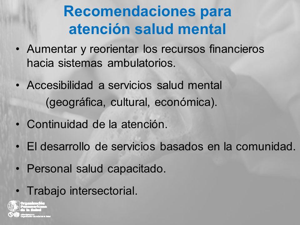 Recomendaciones para atención salud mental