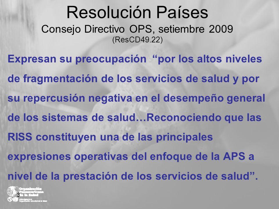 Resolución Países Consejo Directivo OPS, setiembre 2009 (ResCD49.22)