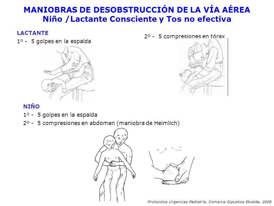 MANIOBRAS DE DESOBSTRUCCIÓN DE LA VÍA AÉREA Niño /Lactante Consciente y Tos no efectiva