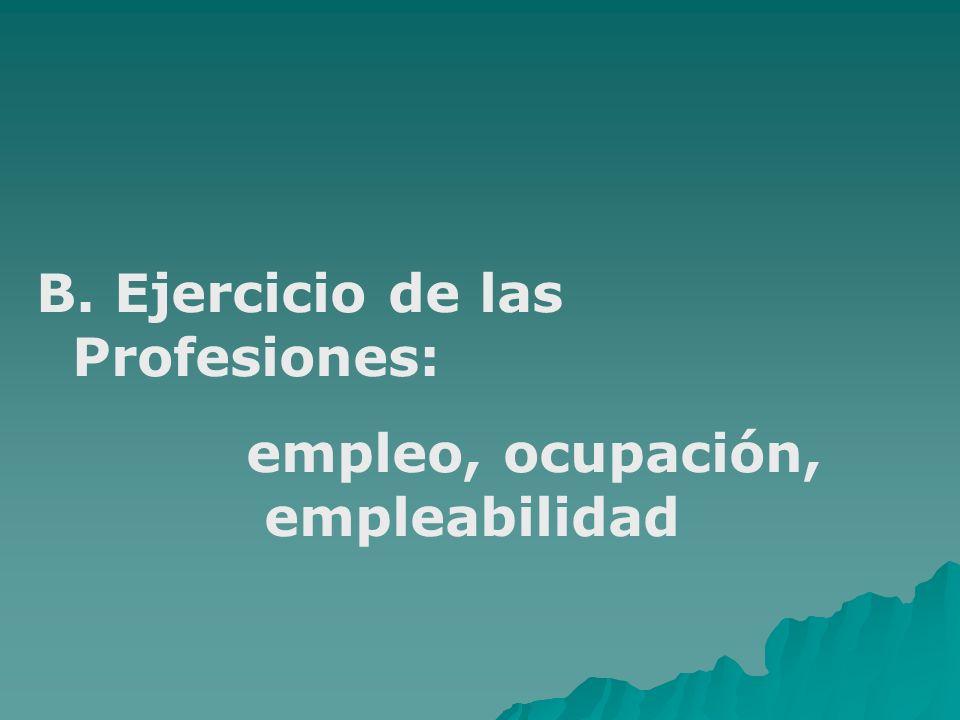 B. Ejercicio de las Profesiones: