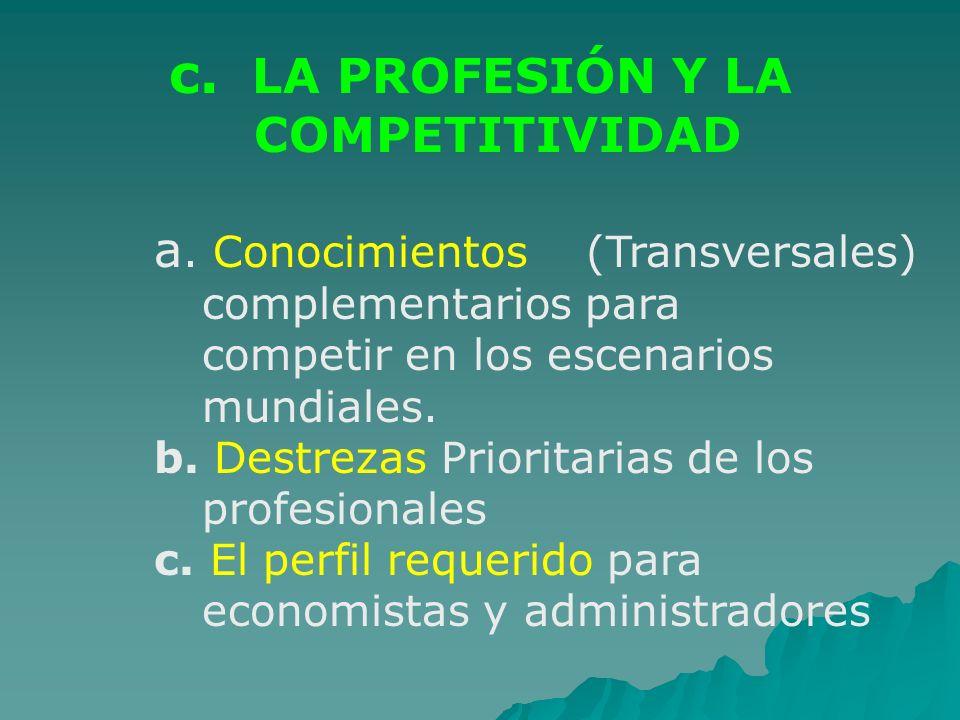 c. LA PROFESIÓN Y LA COMPETITIVIDAD