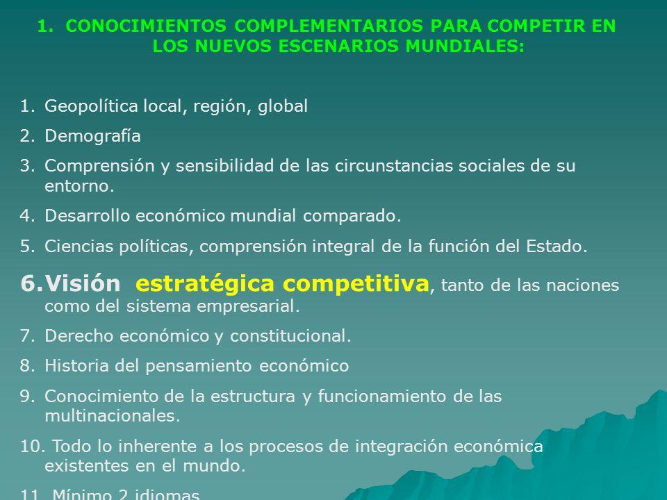 1. CONOCIMIENTOS COMPLEMENTARIOS PARA COMPETIR EN LOS NUEVOS ESCENARIOS MUNDIALES: