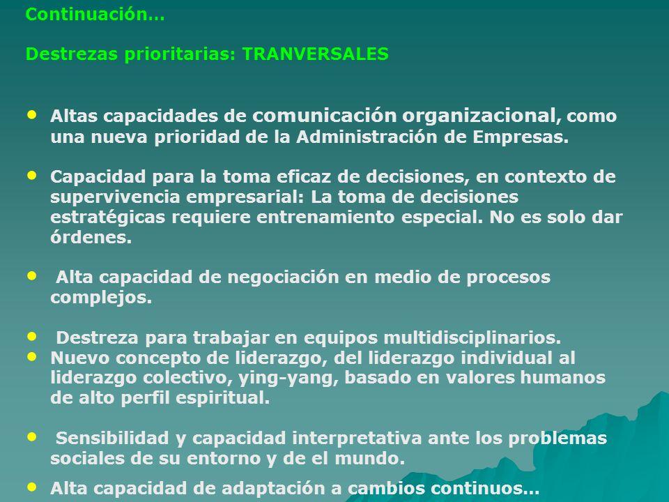 Continuación… Destrezas prioritarias: TRANVERSALES.