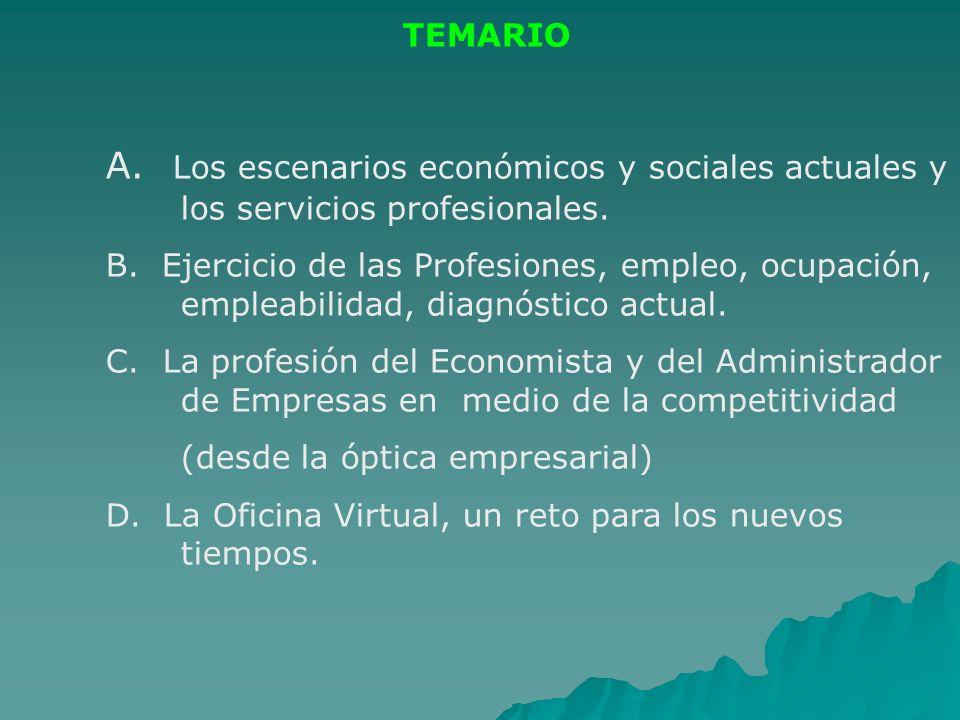 TEMARIO A. Los escenarios económicos y sociales actuales y los servicios profesionales.