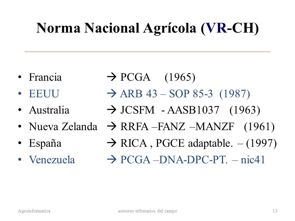 Norma Nacional Agrícola (VR-CH)