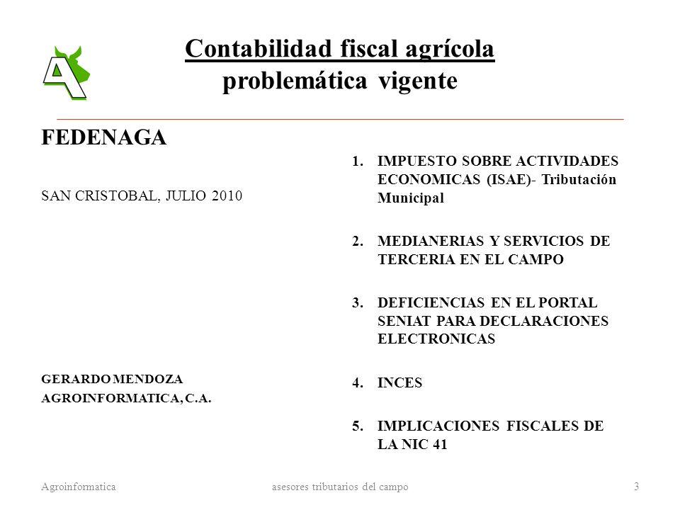 Contabilidad fiscal agrícola problemática vigente