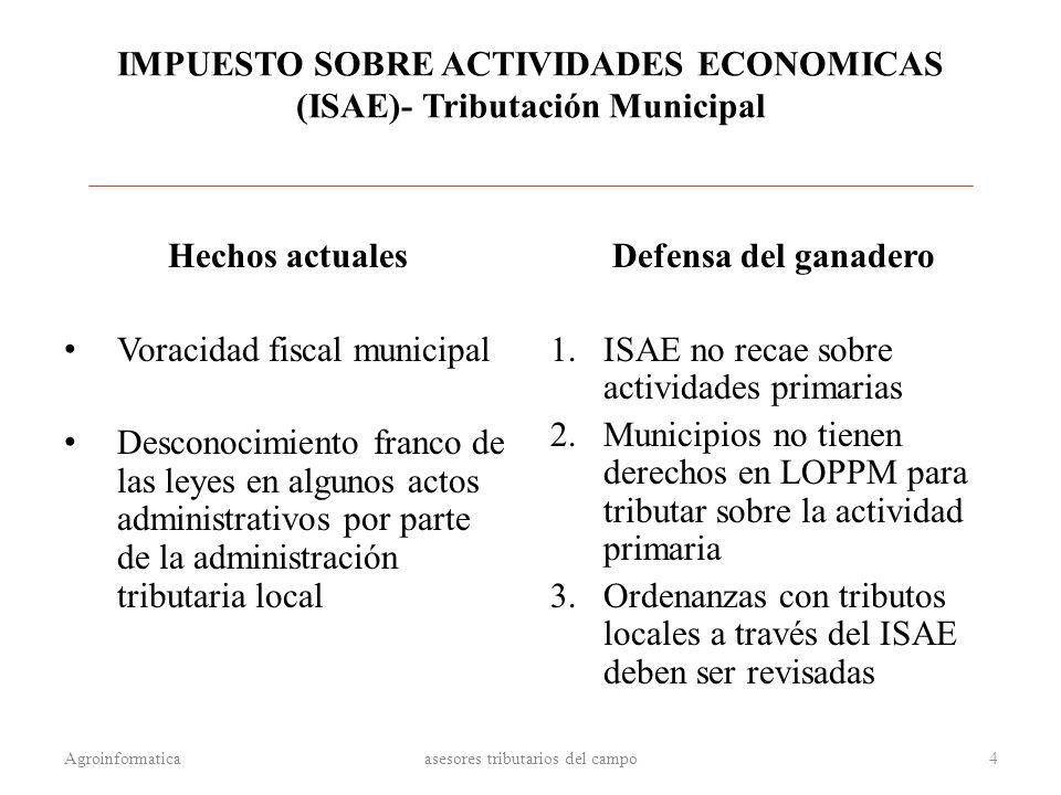IMPUESTO SOBRE ACTIVIDADES ECONOMICAS (ISAE)- Tributación Municipal