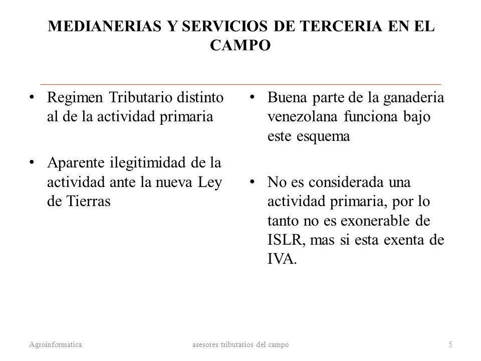 MEDIANERIAS Y SERVICIOS DE TERCERIA EN EL CAMPO