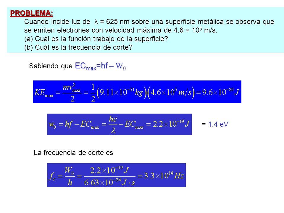PROBLEMA: Cuando incide luz de λ = 625 nm sobre una superficie metálica se observa que se emiten electrones con velocidad máxima de 4.6 × 105 m/s.