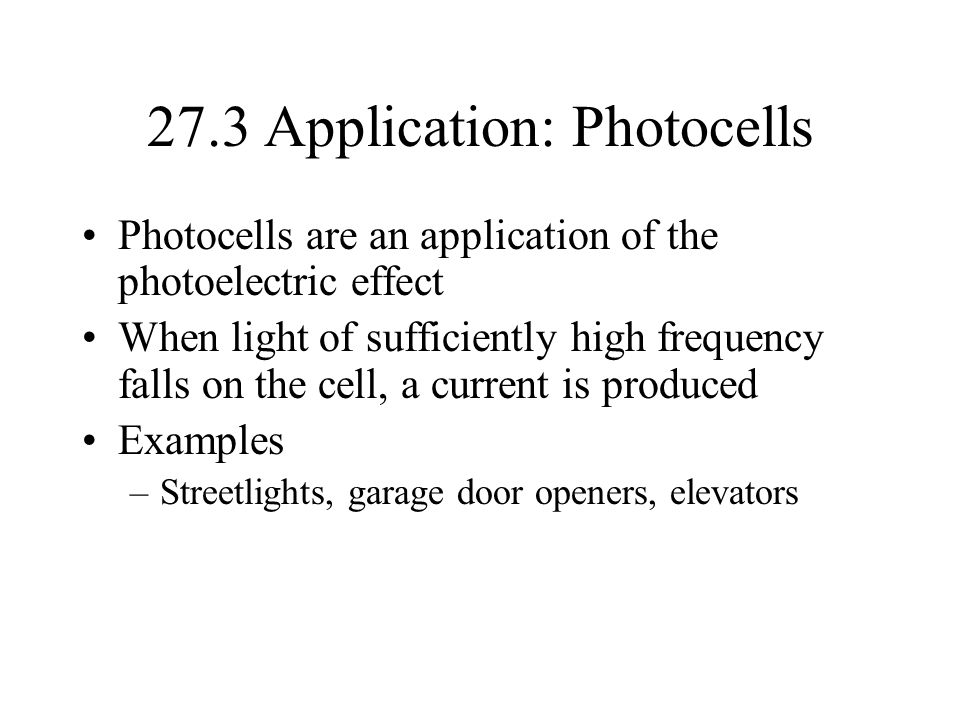 27.3 Application: Photocells