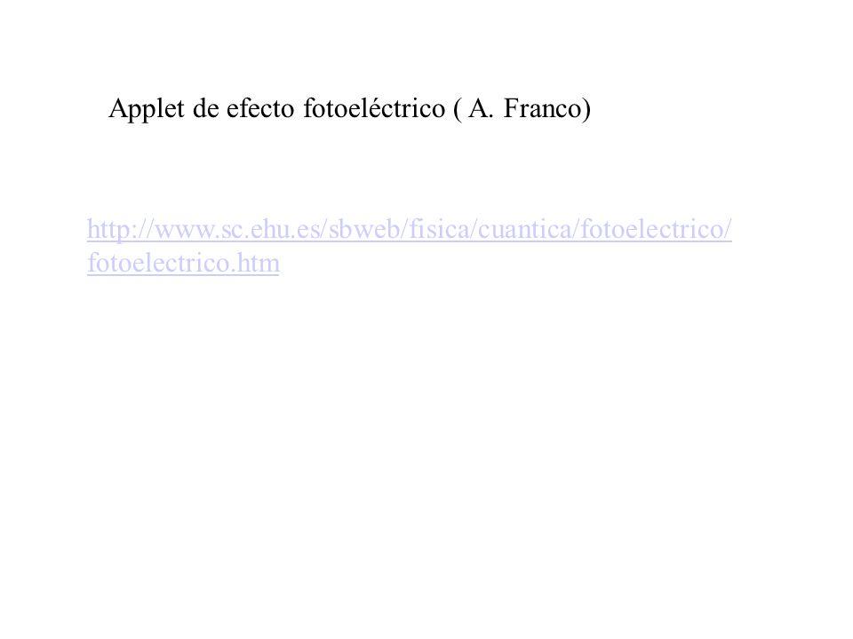 Applet de efecto fotoeléctrico ( A. Franco)