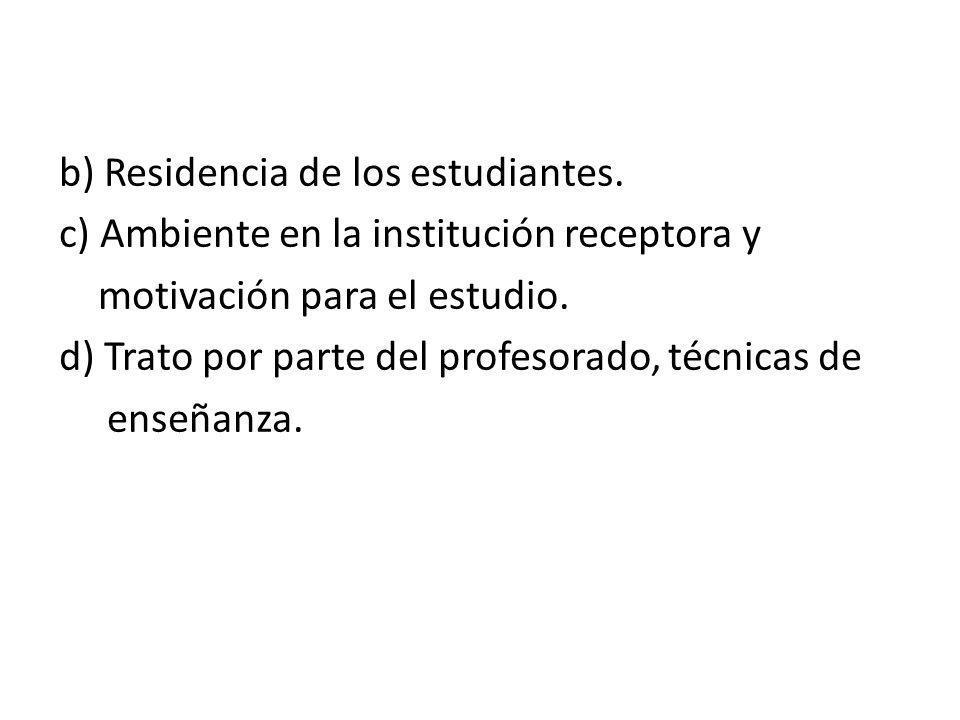 b) Residencia de los estudiantes.