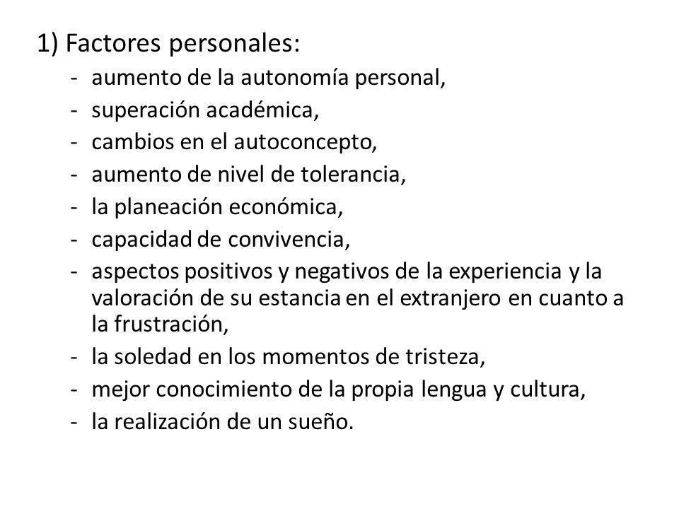 1) Factores personales: