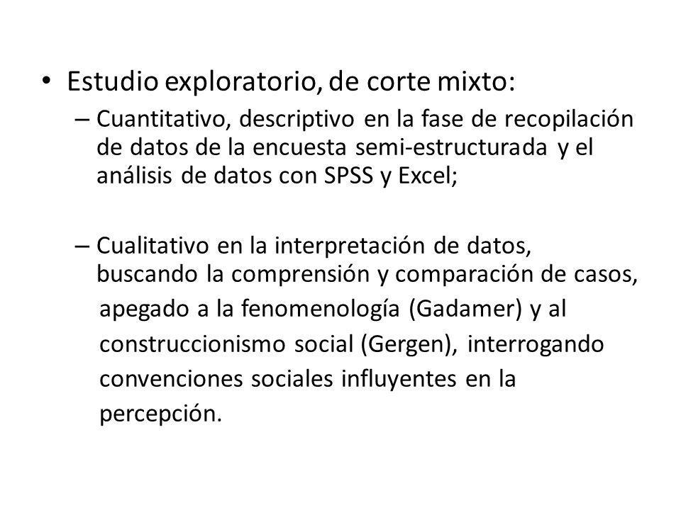 Estudio exploratorio, de corte mixto: