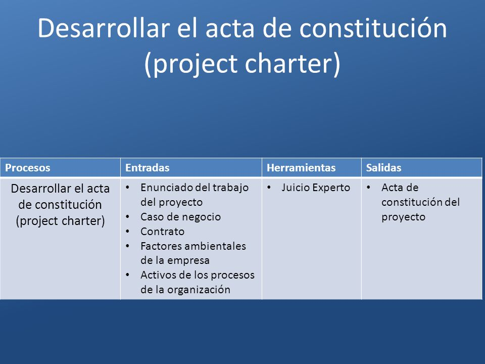 Desarrollar el acta de constitución (project charter)