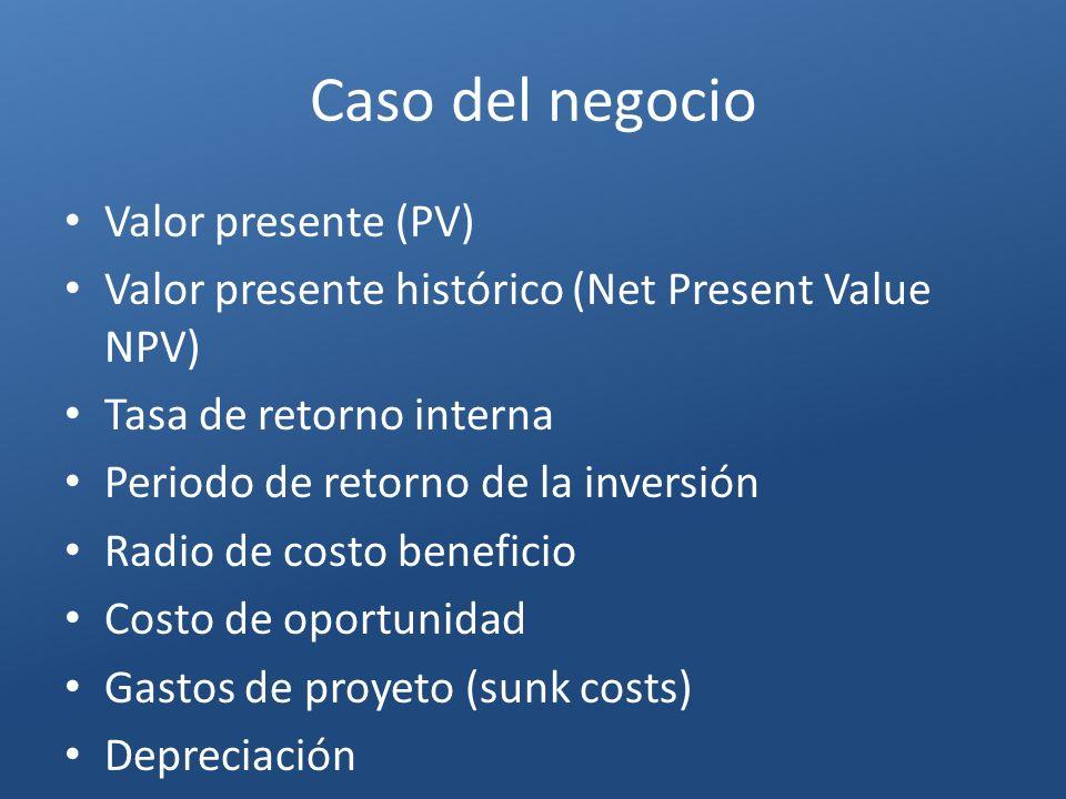 Caso del negocio Valor presente (PV)