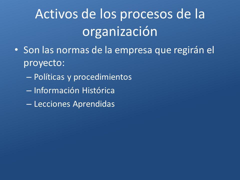 Activos de los procesos de la organización