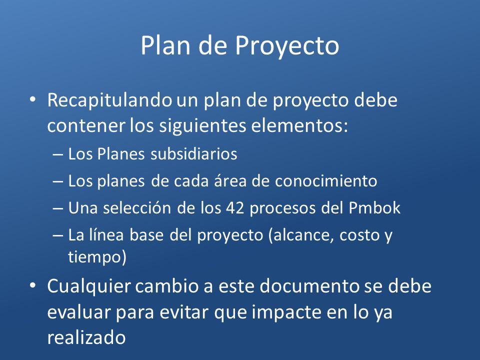 Plan de Proyecto Recapitulando un plan de proyecto debe contener los siguientes elementos: Los Planes subsidiarios.