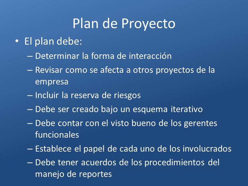 Plan de Proyecto El plan debe: Determinar la forma de interacción
