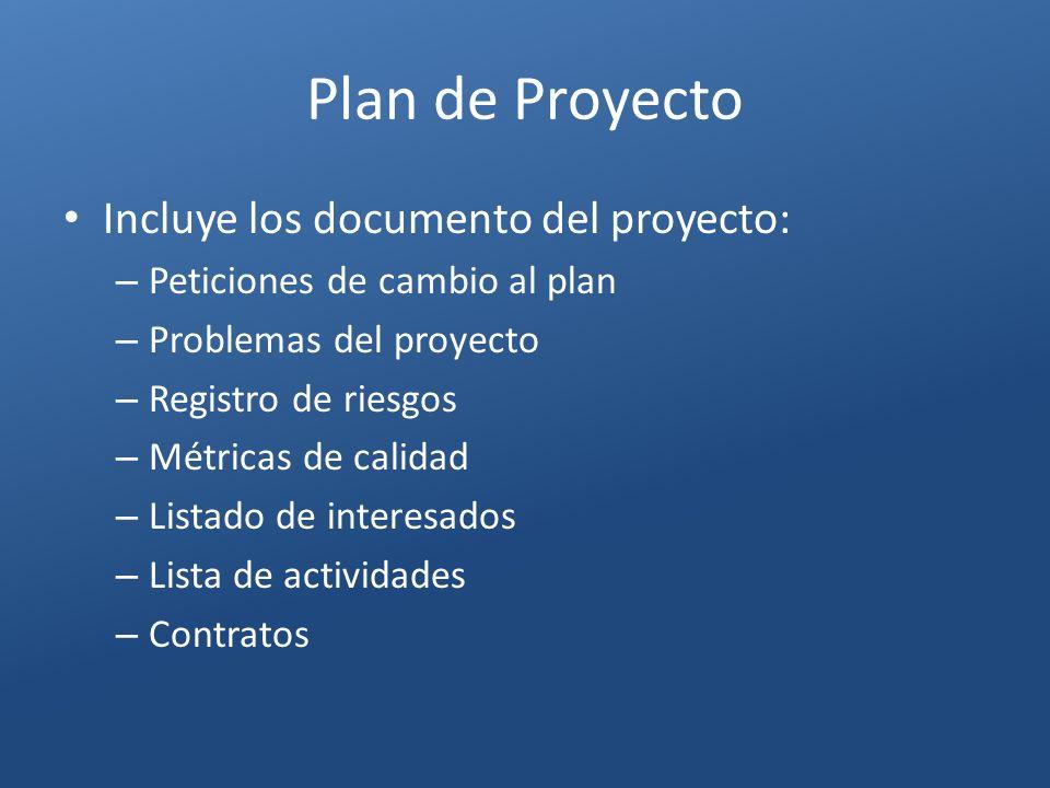 Plan de Proyecto Incluye los documento del proyecto: