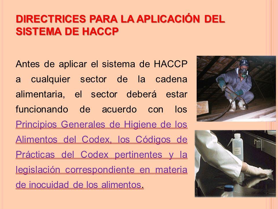 DIRECTRICES PARA LA APLICACIÓN DEL SISTEMA DE HACCP