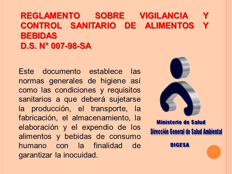 REGLAMENTO SOBRE VIGILANCIA Y CONTROL SANITARIO DE ALIMENTOS Y BEBIDAS