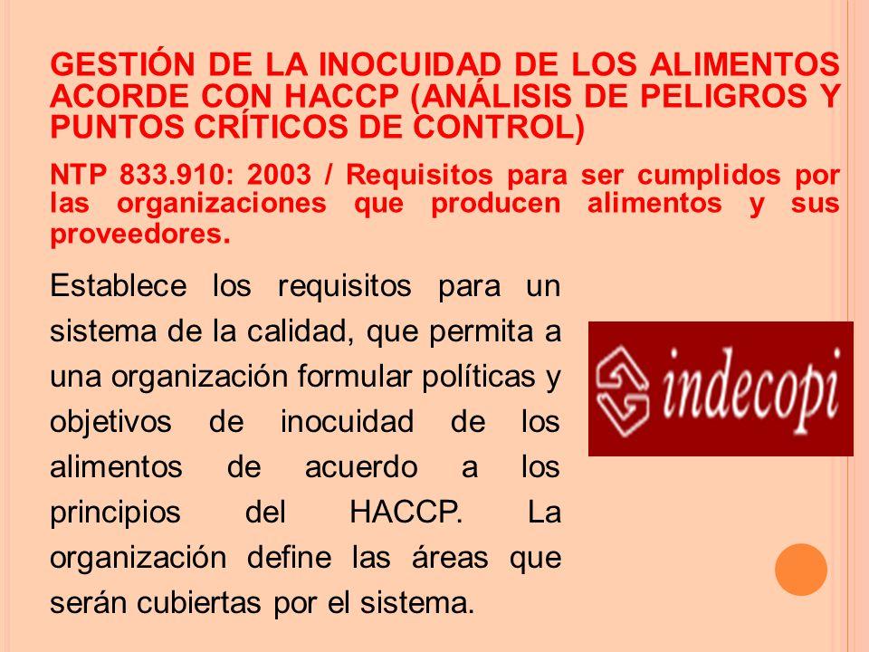 GESTIÓN DE LA INOCUIDAD DE LOS ALIMENTOS ACORDE CON HACCP (ANÁLISIS DE PELIGROS Y PUNTOS CRÍTICOS DE CONTROL)