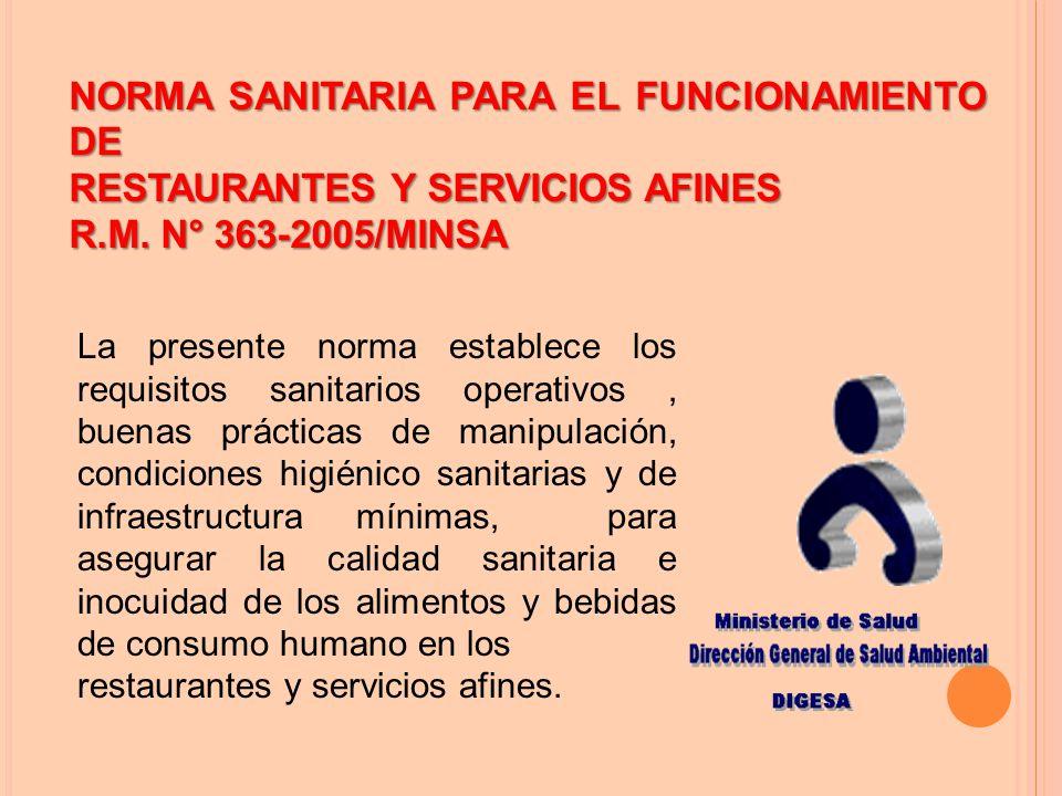 NORMA SANITARIA PARA EL FUNCIONAMIENTO DE