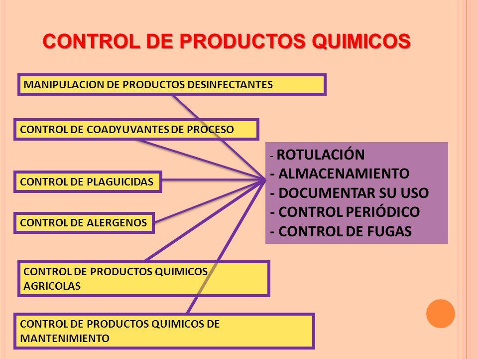 CONTROL DE PRODUCTOS QUIMICOS