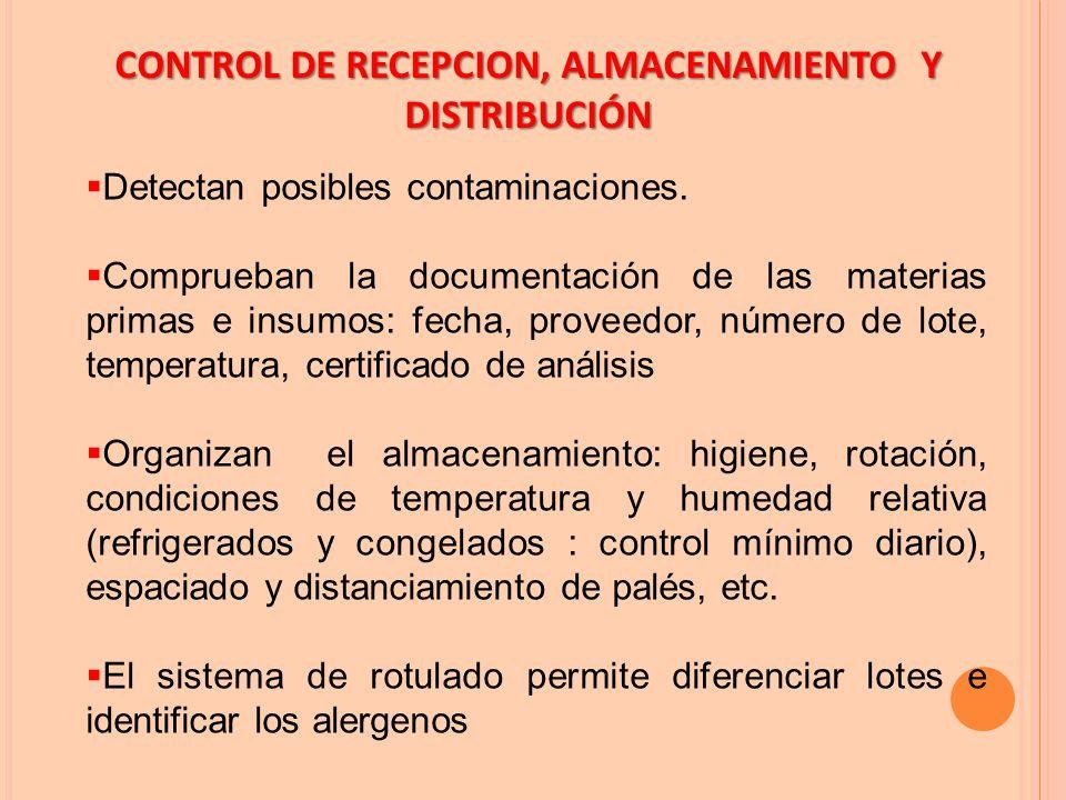 CONTROL DE RECEPCION, ALMACENAMIENTO Y DISTRIBUCIÓN