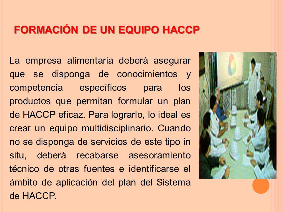 FORMACIÓN DE UN EQUIPO HACCP