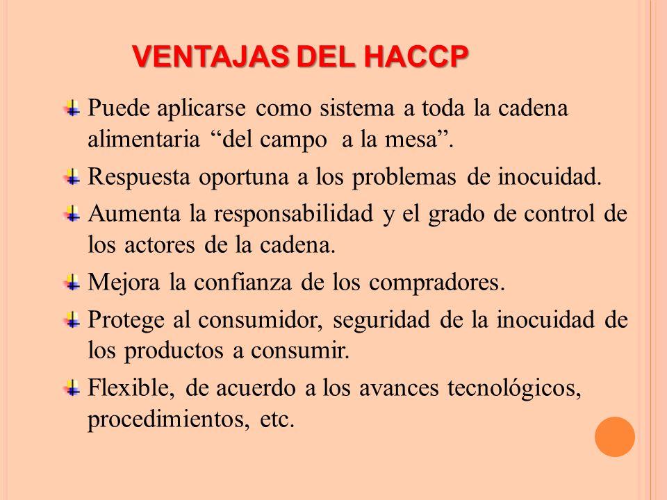 VENTAJAS DEL HACCP Puede aplicarse como sistema a toda la cadena alimentaria del campo a la mesa .