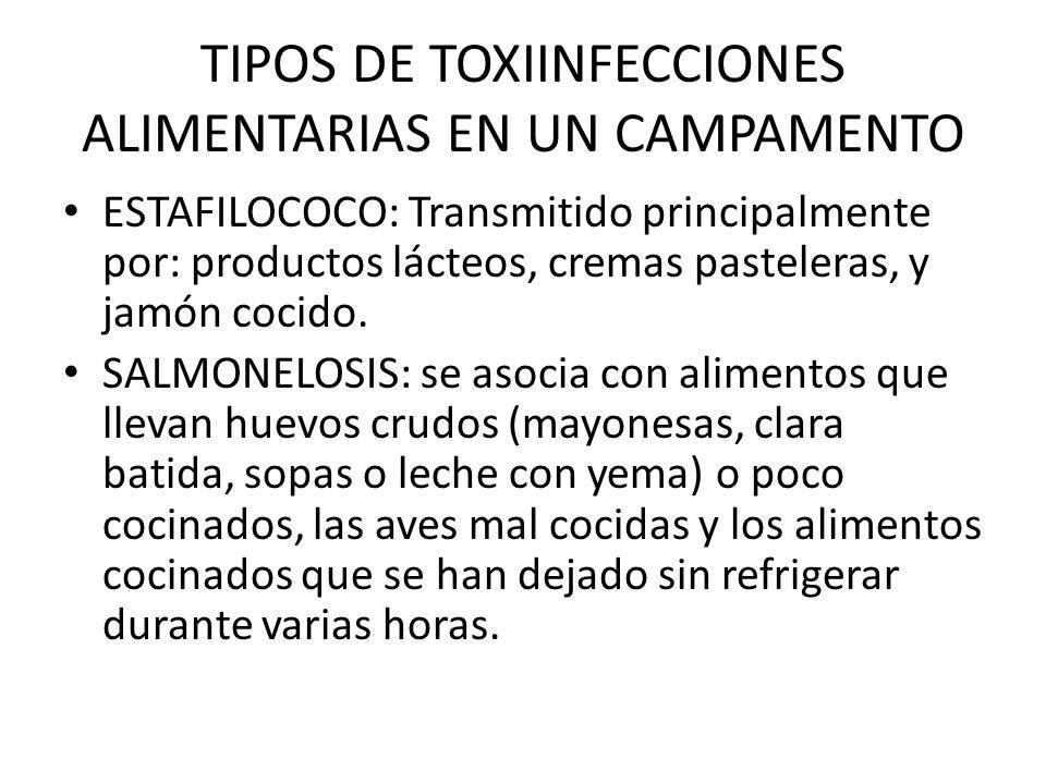 TIPOS DE TOXIINFECCIONES ALIMENTARIAS EN UN CAMPAMENTO