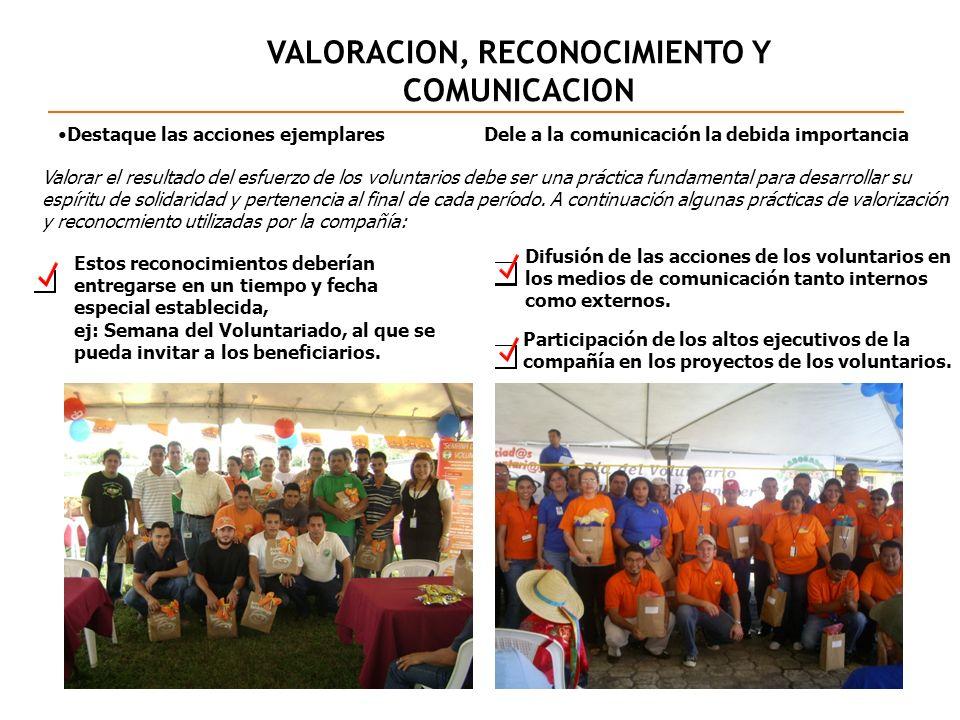 VALORACION, RECONOCIMIENTO Y COMUNICACION