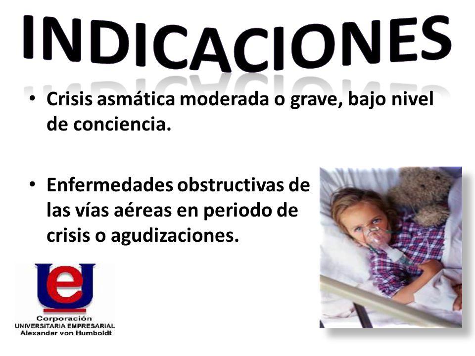 INDICACIONES Crisis asmática moderada o grave, bajo nivel de conciencia.