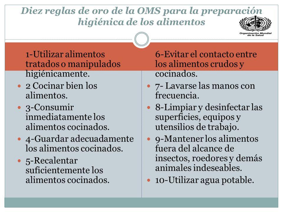 Diez reglas de oro de la OMS para la preparación higiénica de los alimentos