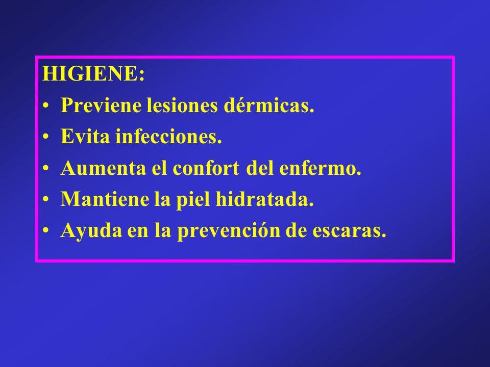 HIGIENE: Previene lesiones dérmicas. Evita infecciones. Aumenta el confort del enfermo. Mantiene la piel hidratada.