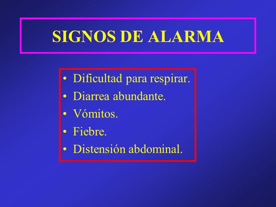 SIGNOS DE ALARMA Dificultad para respirar. Diarrea abundante. Vómitos.