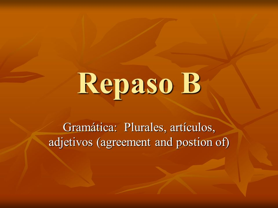 Gramática: Plurales, artículos, adjetivos (agreement and postion of)