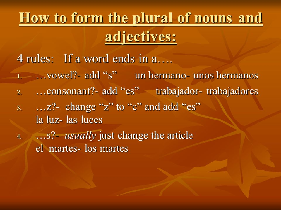 How to form the plural of nouns and adjectives: