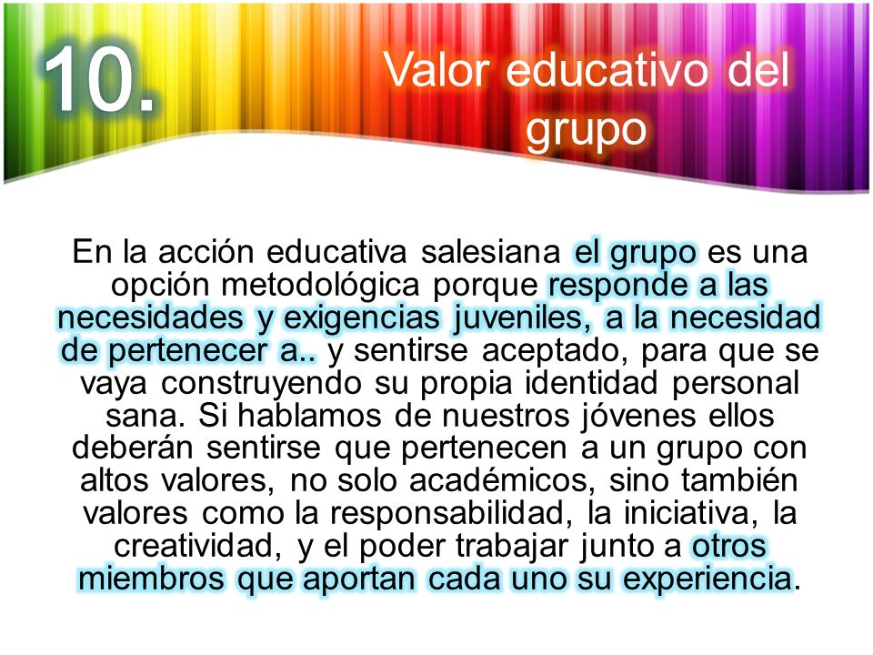 Valor educativo del grupo