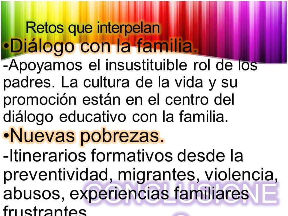 CONCLUSIONES Diálogo con la familia. Nuevas pobrezas.